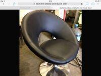 Black leather and chrome base bucket pedastal swivel chair.