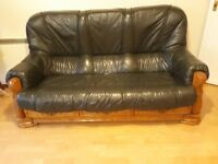 Wood Sofa with leather couch