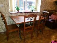 Solid Wood Dining Table Complete With Chairs