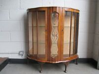 VINTAGE BOW FRONTED GLASS FRONTED DISPLAY CABINET COCKTAIL CABINET+++++SOLD PENDING DELIVERY+++++