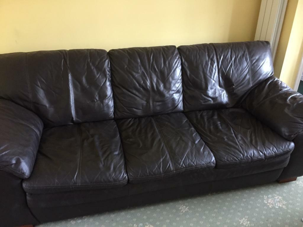 3 seater brown leather sofa for sale. need gone asap. | in ipswich
