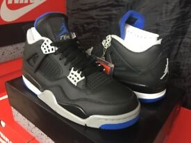 """Nike Air Jordan 4 Retro """"ALTERNATE MOTORSPORT"""" Black/ Game Royal 308497-006 UK 7"""