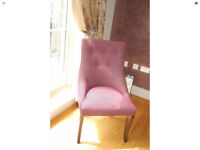 6 Andrew Martin Upholstered Dining Room Chairs Purple Boucle Darkwood