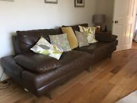 4-Seater Brown Leather Sofa £150 ONO