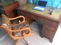 Reproduction Antique Style Leather Top Desk, with Captain's chair, both in great condition.
