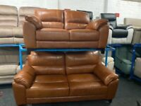 NEW EX DISPLAY SISI ITALIA LLOYD TAN LEATHER 3 + 2 SEATER SOFA SOFAS 70%Off RRP