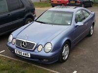 Clk 230 auto quartz blue selectronic low miles 88000 drives as new, px gold or watch etc,,