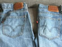 Two pairs of low loose 549 Levi's jeans