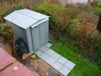shed 6x7 with opening doors metal 3/4 ply floor10 slab path inc buyer dismantles and collectes