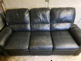 3 seater faux leather sofa 2 sides recliner