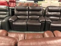 High retail brown leather reclining 2x2 seater sofas
