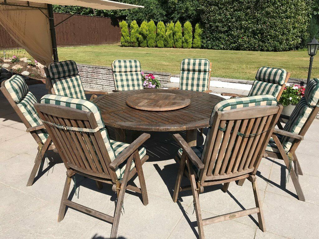 Teak Patio Table And 8 Chairs With Cushions In Newton Abbot Devon