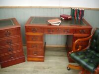 Stunning Green Leather Inlay Desk Filing Cabinet and Chesterfield Captains Chair