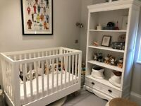White Wooden Nursery Furniture Set - Cot + Shelf - Excellent quality and state