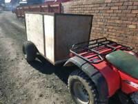 Quad atv livestock trailer has very good tyres has front loading door