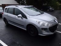 PEUGEOT 308 HDI ESTATE CAR IN SILVER/ EX TAXI FOR SPARES OR REPAIRS / STARTS AND DRIVES