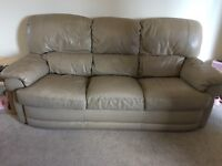 Stone/ beige full leather 3 seater, arm chair & puff