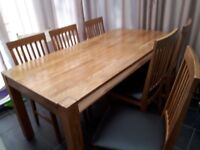 John Lewis Beech dining table and 6 chairs