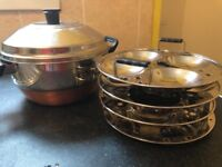 Idly pot + steamer - 4 plates - good condition