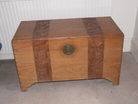 LARGE ATTRACTIVE OLD CARVED CAMPHOR CHEST