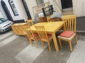 Light oak table and chairs