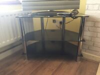 Black metal TV stand, great condition.