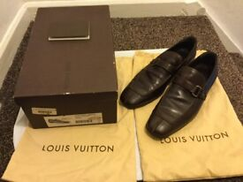 MENS LOUIS VUITTON LOAFERS SIZE UK 10, 100% AUTHENTIC,WORN ONCE,TURBULENT CACAO LEATHER