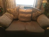 2seater black and grey sofa with 3 large cushions