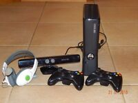XBOX 360, 2 CONTROLLERS, KINECT, HEADSET, & 18 GAMES INC 3 SKYLANDERS AND PORTAL