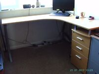 Beech effect office desk - fits corner - free office chair