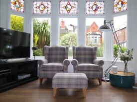 Pair Of Grey Checked NEXT Sherlock Wing Back Armchairs & Footstool