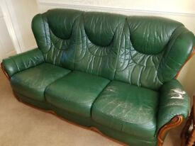 Green leather 3 seater sofa + 2 armchairs