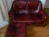 two seater sofa and foot stool