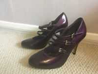 Brand new Bertie Angel stunning purple patent high heel shoes size 6/39 with labels on