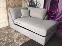 Next Stratus Storage Chaise Sofa Section in Mid Grey Boucle Weave Textured Fabric