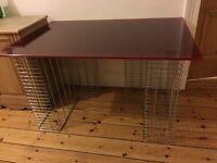 Habitat red glass desk chrome leg supports