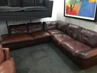 As new large leather Corner Sofa
