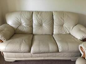 Cream leather 3 seater sofa + 2 armchairs (1 recliner)