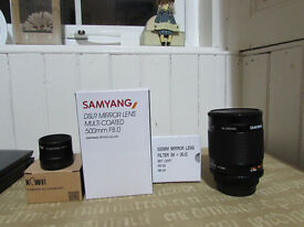 DSLR Mirror lens multi-coated 500mm F8.0 with 2x converter by SAMYANG with Canon fit converter