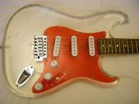 AXL clear acrylic electric guitar - 2004 - Fender Stratocaster homage
