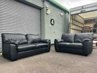 Black leather sofas delivery 🚚 sofa suite couch furniture