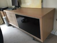 Callagaris solid oak and glass sideboard