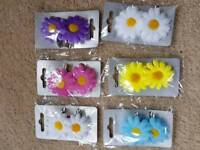 6 x PAIRS FLOWER HAIR CLIPS - BRAND NEW IN PACKAGING