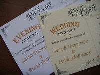 Personalised Wedding/Evening Invitations A6 Vintage Postcard Style 300gsm Card FREE POSTAGE