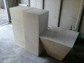MARBLE PLINTHS AND COFFEE TABLE