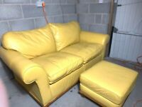 Very comfy 2 Seater yellow sofa + Footstool ( delivery free )