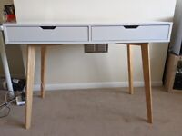 White modern desk with 2 drawers