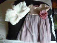 Lovely Dress by MONSOON 2-3 yrs + Cherokee Faux Fur Bolero 18 mth - 2 yrs.