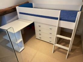 Children's Bed, slide out Desk and chest of Drawers