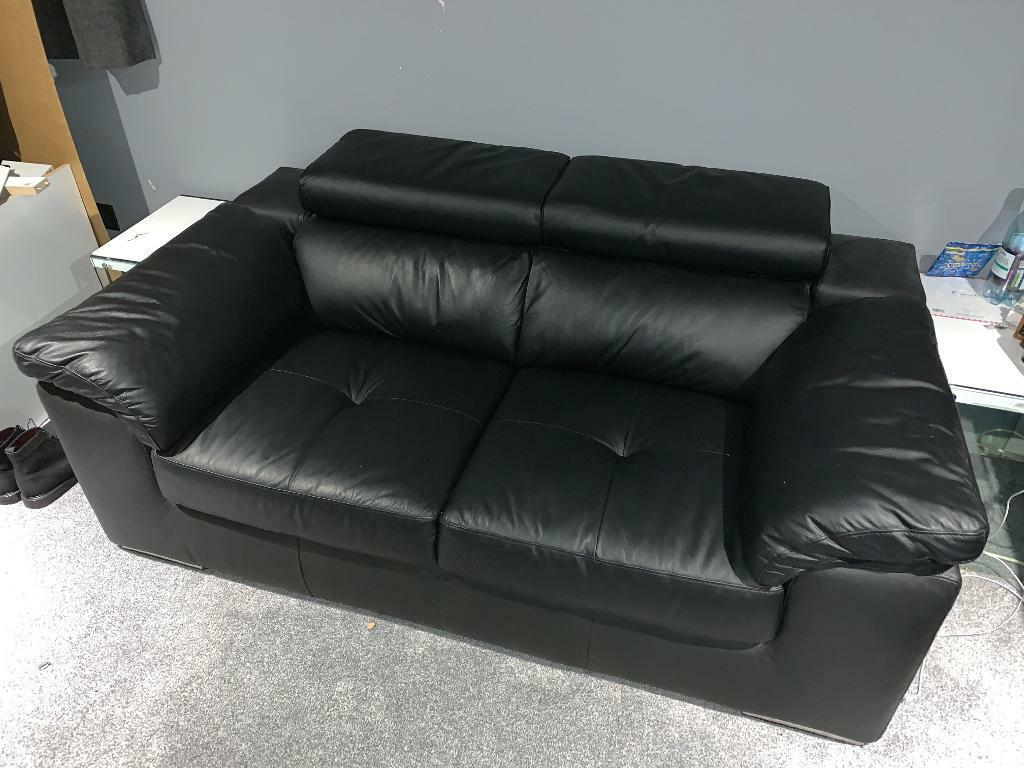 2 Seater Leather Sofa Black In